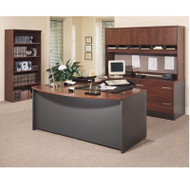 BBF Bush Series C Package Executive U-Shaped Bowfront Desk Hansen Cherry Right - HCPackageB2