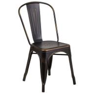 Flash Furniture Distressed Copper Metal Indoor-Outdoor Stackable Chair - ET-3534-COP-GG