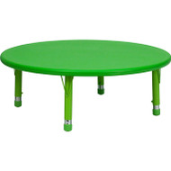 Flash Furniture 45'' Round Height Adjustable Green Plastic Activity Table YU-YCX-005-2-ROUND-TBL-GREEN-GG