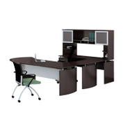 "* MONTHLY SPECIAL! Mayline Medina Laminate Executive 72"" Desk U-Shaped Package Left Mocha - MNT32-LDC"