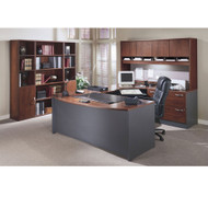BBF Bush Series C Package Executive U-Shaped Bowfront Desk Hansen Cherry - HCPackageG