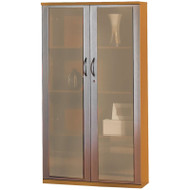 """Mayline Napoli or Corsica Veneer 68"""" Wall Cabinet with Glass Doors Golden Cherry - VCG-GCH"""