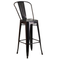 "Flash Furniture Antique-Black Gold Metal Indoor-Outdoor Bar Height Chair 30""H - CH-31320-30GB-BQ-GG"