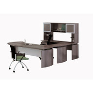 """* MONTHLY SPECIAL! Mayline Medina Laminate Executive 63"""" Desk U-Shaped Package Left Gray Steel - MNT30-LGS"""
