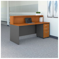 "BBF Bush Series C Reception Desk with 3-Drawer Mobile Pedestal Natural Cherry 72""W x 30""D - SRC096NCSU"