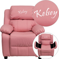 Flash Furniture Kid's Recliner with Cup Holder Pink Vinyl Storage Dreamweaver Embroiderable - BT-7985-KID-PINK-EMB-GG