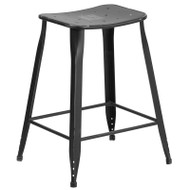 "Flash Furniture Distressed Black Metal Indoor-Outdoor Counter Height Saddle Stool 24""H - ET-3604-24-DISBK-GG"