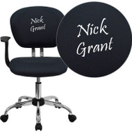 Flash Furniture Mid-Back Gray Mesh Task Chair with Arms and Chrome Base and Includes Embroidery - H-2376-F-GY-ARMS-EMB-GG -
