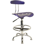 Flash Furniture Vibrant Deep Blue and Chrome Drafting / Bar Stool with Tractor Seat - LF-215-DEEPBLUE-GG