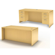 * MONTHLY SPECIAL! Mayline Aberdeen Executive Desk & Credenza Package Maple - AT1-LMA