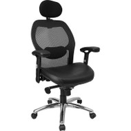 Flash Furniture High-Back Super Mesh Office Chair with Black Italian Leather Seat and Knee Tilt Control - LF-W42-L-HR-GG