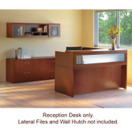 Mayline Aberdeen Reception Desk L-Shaped without Pedestal File Drawers Cherry Finish - ABEPackage1-LCR