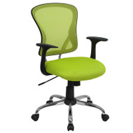 Flash Furniture Mid-Back Green Mesh Office Chair with Chrome Finished Base - H-8369F-GN-GG