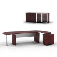 """* MONTHLY SPECIAL! Mayline Medina Executive 63"""" Desk with Return on Right and Low Wall Cabinet, Mahogany  - MNT7-LMH"""