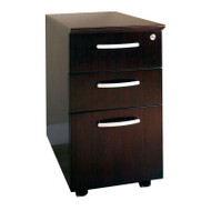 Mayline Napoli or Corsica Veneer Mobile Pedestal, 2 Box & 1 File Drawer ASSEMBLED Mahogany - VBBF