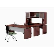 "* MONTHLY SPECIAL! Mayline Medina Laminate Executive 63"" Desk U-Shaped Package Left Mahogany - MNT33-LMH"