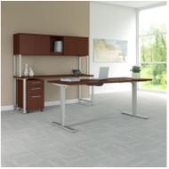 "BBF Bush 400 Series Height Adjustable Standing Desk 72"", Credenza and Storage, Harvest Cherry - 400S193CS"