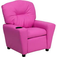 Flash Furniture Contemporary Kid's Recliner with Cup Holder Pink Vinyl - BT-7950-KID-HOT-PINK-GG