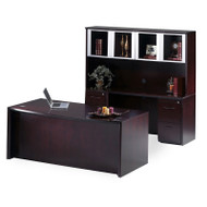 """* MONTHLY SPECIAL! Mayline Corsica Veneer Executive Bow Front Desk with Credenza and Glass Doors Hutch Package 72"""" Mahogany - CT26"""