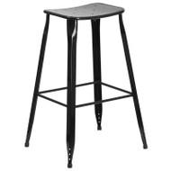 """Flash Furniture Black Metal Indoor-Outdoor Saddle Barstool 30""""H - ET-3604-30-BK-GG"""