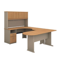 BBF Bush Series A U-Shaped Desk with Hutch, Peninsula and Storage in Light Oak - SRA009LO
