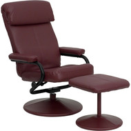 Flash Furniture Contemporary Burgundy Leather Recliner and Ottoman - BT-7863-BURG-GG