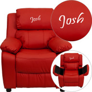 Flash Furniture Kid's Recliner with Storage Dreamweaver Embroiderable Red Vinyl - BT-7985-KID-RED-EMB-GG