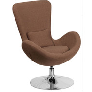 Flash Furniture Egg Series Reception Lounge Side Chair Brown Fabric - CH-162430-BN-FAB-GG