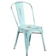 Flash Furniture Distressed Green-Blue Metal Indoor-Outdoor Stackable Chair - ET-3534-DB-GG