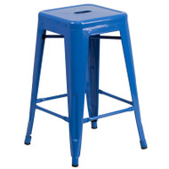 "Flash Furniture Blue Metal Indoor-Outdoor Counter Height Stool 24""H - CH-31320-24-BL-GG"