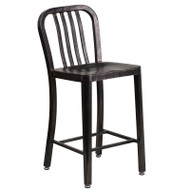 "Flash Furniture Black-Antique Gold Metal Indoor-Outdoor Counter Height Stool 24""H (2-Pack) - CH-61200-24-BQ-GG"