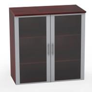 Mayline Medina Laminate Storage Cabinet Glass Hutch Mahogany - MGDC-LMH