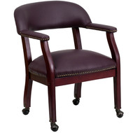 Flash Furniture Burgundy Leather Captain's Chair with Casters - B-Z100-LF19-LEA-GG