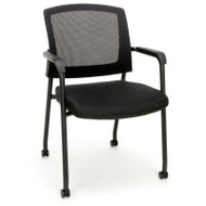 MONTHLY SPECIAL! OFM Mesh Guest / Reception Chair with Casters - 424-CAS