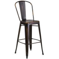 "Flash Furniture Distressed Copper Metal Indoor-Outdoor Bar Height Chair 30""H - ET-3534-30-COP-GG"