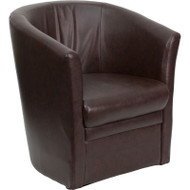 Flash Furniture Brown Leather Barrel-Shaped Guest Chair - GO-S-01A-BN-FULL-GG