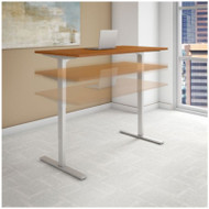 "BBF Bush Series C 400 Height Adjustable Table Desk 60"" x 24"" Natural Cherry - HAT6024NCK"