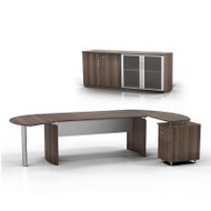 """* MONTHLY SPECIAL! Mayline Medina Executive 63"""" Desk with Return on Right and Low Wall Cabinet, Textured Brown Sugar  - MNT7-TBS"""