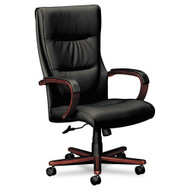 Basyx Black Leather High-Back Swivel/Tilt Chair with Wood Trim - VL844
