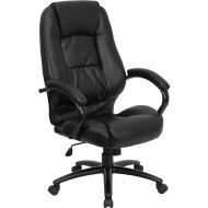 Flash Furniture High Back Black Leather Executive Office Chair - GO-710-BK-GG