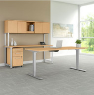 """BBF Bush 400 Series Height Adjustable Standing Desk 72"""", Credenza and Storage, Natural Maple - 400S193AC"""