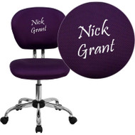 Flash Furniture Mid-Back Purple Mesh Task Chair with Chrome Base and Includes Embroidery-H-2376-F-PUR-EMB-GG