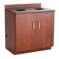 Safco Hospitality Base Cabinet, Waste Receptacle , Mahogany/Rustic Slate - 1704MH