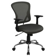 Flash Furniture Mid-Back Dark Gray Mesh Office Chair with Chrome Finished Base - H-8369F-DK-GY-GG