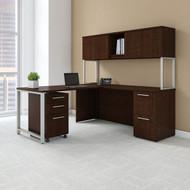 "BBF Bush 400 Series L-shaped Table Desk 72"" x 22"" with 48"" Return, Hutch and 3 Drawer Pedestal, Mocha Cherry - 400S127MR"