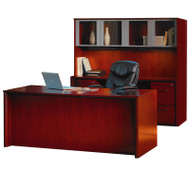 """* MONTHLY SPECIAL! Mayline Corsica Veneer Executive Straight Front Desk with Credenza and Glass Doors Hutch Package 72"""" Sierra Cherry - CT28-CRY"""