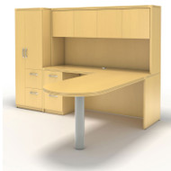 * MONTHLY SPECIAL! Mayline Aberdeen Executive L-Shaped Peninsula Desk Package Maple - AT22-LMA