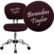 Flash Furniture Mid-Back Burgundy Mesh Task Chair with Chrome Base and Includes Embroidery - H-2376-F-BY-EMB-GG