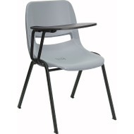 Flash Furniture Gray Plastic Shell-Chair with Right Tablet - RUT-EO1-GY-RTAB-GG