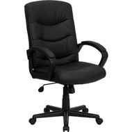 Flash Furniture High-Back Black Leather Executive Office Chair - GO-977-1-BK-LEA-GG